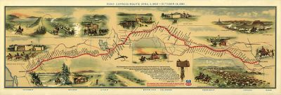 Old map of Pony Express route